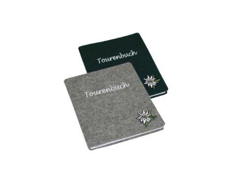 Tourenbuch Filz mit Applikation Edelweiss grün 13,5x16,5cm 96Seiten