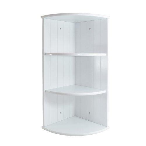 Eckregal, Holz, 3Ebenen, Paneldesign, für Badezimmer, Schlafzimmer, Weiß