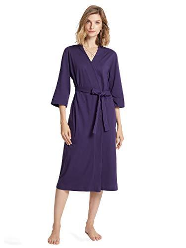 SIORO Women's Kimono Robes Cotton Lightweight Robe Long Knit Bathrobe Soft Nightgowns Sleepwear V-neck Ladies Nightwear, Eggplant,XL(US 12-16)