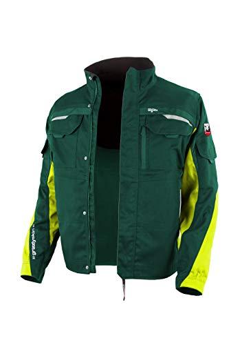 Grizzlyskin Arbeitsjacke Iron Grün/Warngelb 70-72 – Unisex Workwear für Damen & Herren, Cordura-Schutzjacke mit vielen Taschen, Outdoor Jacke mit Reflexbiesen