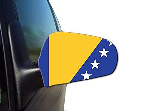 Sonia Originelli 2er Set Außenspiegel Flagge WM Fußball Fan Auto Fahne Farbe Bosnien-Herzegowina