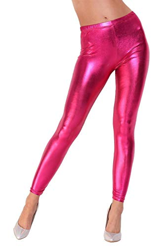 AE Leggings Metallic Latex Wet Look Lack Leder Optik Gr. S M L XL XXL 3X 4XL, 1905 Pink S/36