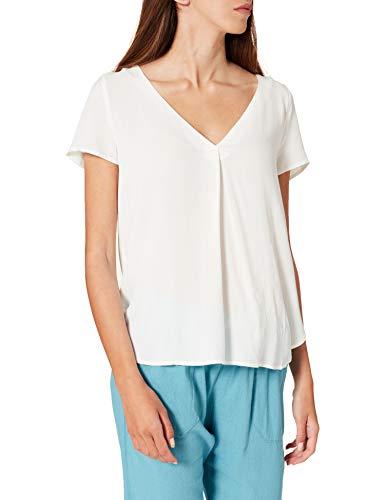 Springfield Camiseta Bimateria Lisa, Marfil, XL para Mujer