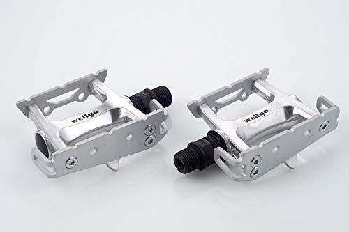 Wellgo New R025 Track Fixed Gear Road Bike Pedals (Toe Clip Strap Ready) (Silver)