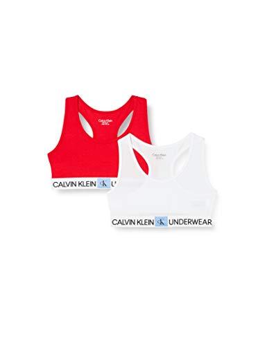 Calvin Klein 2pk Bralette Sujetador, Blanco (1White/1Lollipop 0QZ), 8-10 Jahre para Niñas