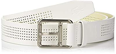Lacoste Men's Perforated Leather Belt W/Roller Buckle, white, 40
