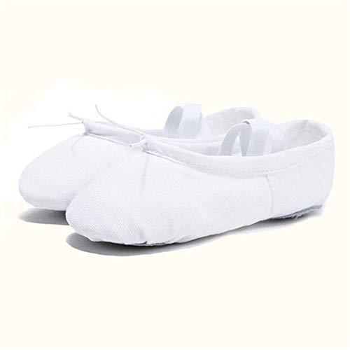 Cfiret Calcetines de Entrenador de Mujer Yoga Zapatos de Baile de Ballet for niñas Las Mujeres del Ballet Zapatos de Lona de niños de los niños (Color : White, Shoe Size : 6)