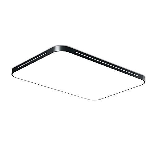 Fscm 60W LED Lámpara de Techo Plafon LED de Techo para Baño Dormitorio Cocina Sala de Estar Comedor Balcón IP44 Impermeable Con Marco de Metal Rectángulo 65x43cm (Negro, Blanco Frío (6000-6500K))