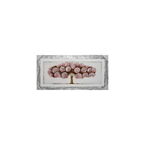 Arcibold Home Diseño árbol de Vida pon pon, Decorativo, Moderno - 48x118 cm - Color Rosa Palo, Cuadro árbol de la Vida pon pon Rosa Palo Pintado a Mano, óleos acrílicos y ecológicos.