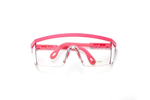 Berwke Protective Glasses Eye Protection Glasses Adjustable Clear Safety Glasses for Work Protective Eyewear (Pink)