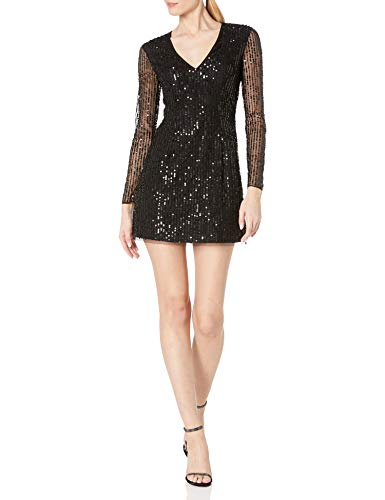 French Connection Women's All Over Sequin Dresses, Inari Black, 10
