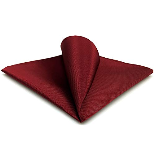 SHLAX&WING Solid Color Red Burgundy Wedding Silk Matching Pocket Square Large