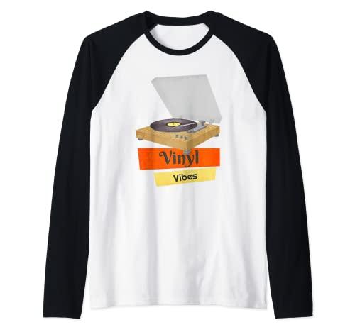 Vinilo Vibes Retro Records Amante de la música Camiseta Manga Raglan