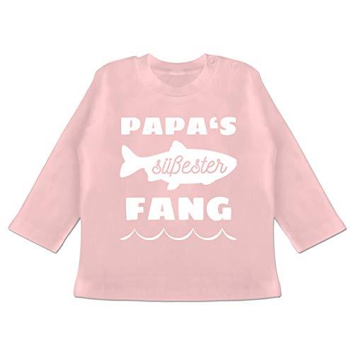 Statement Sprüche Baby - Papas süßester Fang - 6/12 Monate - Babyrosa - Baby Jungen Angeln - BZ11 - Baby T-Shirt Langarm