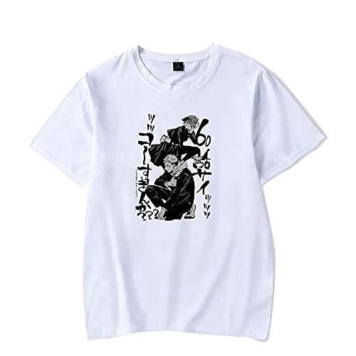 Yuhuaouzhou Unisex T-Shirt Sommer Atmungsaktive Jujutsu Kaisen 3D-gedruckte Anime Kurzarm Casual Tops O-Neck Pullover für Teen