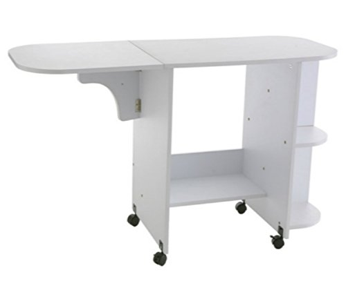 Rolling Sewing Machine Craft Table Drop Leaf White Folding Desk Storage Shelves