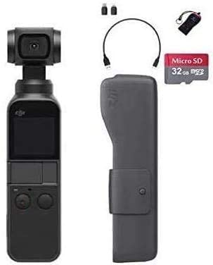 DJI Osmo Pocket Handheld 3 Axis Gimbal Stabilizer with Integrated Camera, OSMO Shield(2 Years Warranty), Comes A Free 32GB MicroSD Card and Camrise USB, Attachable to Smartphone, Android, iPhone