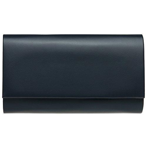 Caspar TA412 Damen große Metallic Clutch Tasche Abendtasche, Farbe:dunkelblau, Größe:One Size