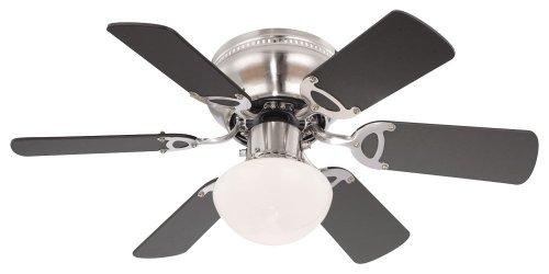 Deckenventilator mit Beleuchtung Leise Zugschalter Deckenleuchte mit Ventilator (3 Stufen, Deckenlampe, 76 cm, Rechts Links Lauf, Buche Graphit)