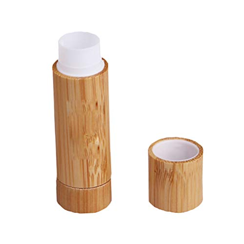 Lurrose - 2 tubos de pintalabios de bambú vacíos para hacer bálsamo labial, estuche para botella de tubo brillante