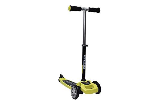 KETTLER - Kickboard ZAZZY, per bambini dai 3 anni in su, guida stabile grazie alle due ruote anteriori, con freno a pedale, sicurezza e comportamento di guida certificata TÜV (verde lime)