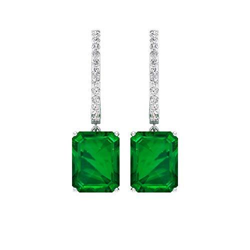 4.62 CT creados en laboratorio esmeralda pendientes colgantes, aros de diamantes, pendientes colgantes, 18K Oro blanco, Par