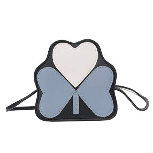 FENICAL Bolso cruzado creativo de mariposa en forma de corazón de cuero de pu con cremallera bolsa de mensajero bolso de hombro monedero para niños niñas (rojo)