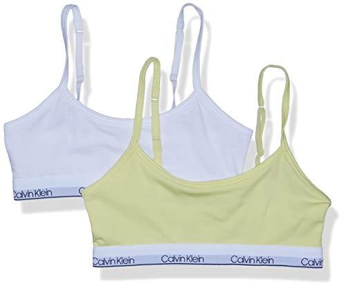 Calvin Klein Girls' Little Cotton Training Bra Bralette with Adjustable Straps, 2 Pack-Elfin Yellow, White, 10-12