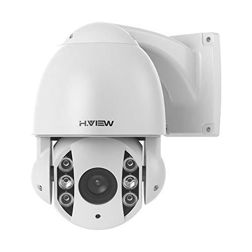 H.VIEW 5MP PTZ Cámara de vigilancia PoE IP Dome FHD ONVIF 5X Zoom óptico 3.05-15.5mm Cámara de seguridad giratoria con 360°/90° para exterior/interior, resistente a la intemperie, IP66 día