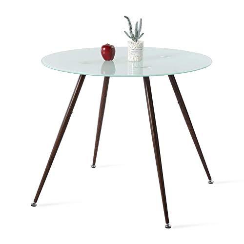 IPOTIUS Moderno Tavolo da Pranzo in Vetro Rotondo per 4 Persone, Tavolo da Cucina, Gambe in Metallo con Effetto Noce, 90x90x75cm Bianco
