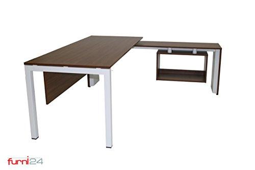 furni24 Schreibtisch Computertisch Büroschreibtisch Winkelschreibtisch Eckschreibtisch Chefschreibtisch Tetra 160 cm x 82 cm x 75 cm Nussbaum