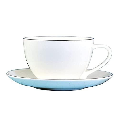 WYZQ Taza de café Juego de Taza y platillo de té de Flores de Porcelana China Máquina de café Latte Caramel Macchiato Taza con Guirnalda de café Oreja Colgante Taza de café, Tazas