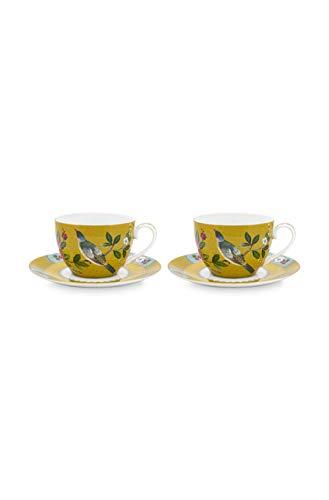 Pip Studio 2er Cappuccino Tassen mit Untertassen-Set Blushing Birds   Yellow - 280 ml