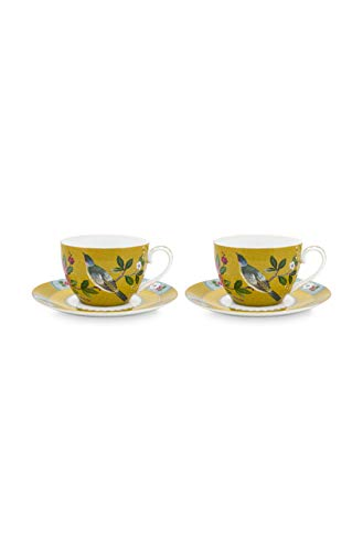 Pip Studio 2er Cappuccino Tassen mit Untertassen-Set Blushing Birds | Yellow - 280 ml