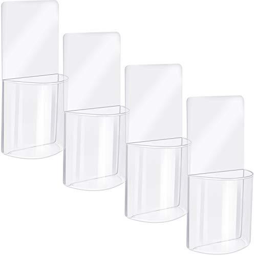 Paquet de 4 Boîte de Rangement pour Organisateur Mural Porte-Télécommande Transparent Organisateur de Médias en Acrylique
