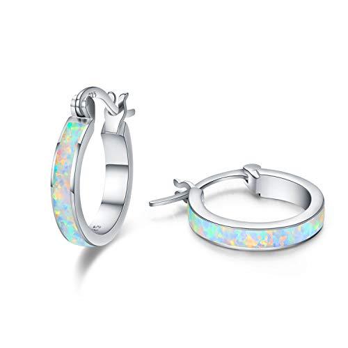 925 Sterling Silber Creolen Ohrringe für Mädchen,Opal Ohrringe Kleine Creolen Kreis Ohrringe Schmuck für Damen Weihnachtsgeschenk Hochzeits Jubiläums für Mädchen Mama Frauen