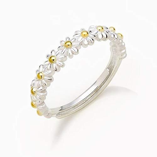 Pienso en ti cada anillo de margarita, personalidad ajustable 5-12 anillo de banda de doble color joyería para hombres mujeres regalo anillo de pareja (1 PC)