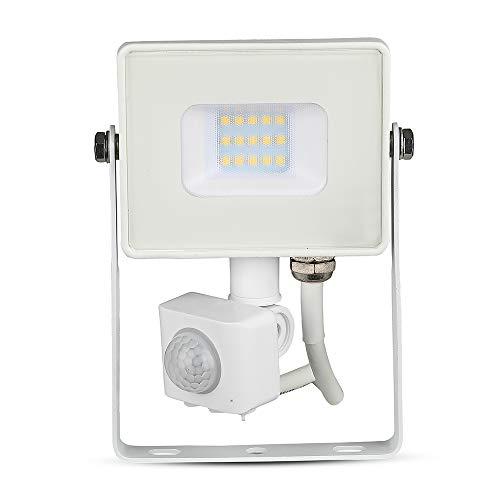 V-TAC 10W avec détecteur de Mouvement Projecteur LED de sécurité extérieur étanche avec Corps Blanc Samsung LED Verre Blanc IP65 6400K Blanc 800 Lumens