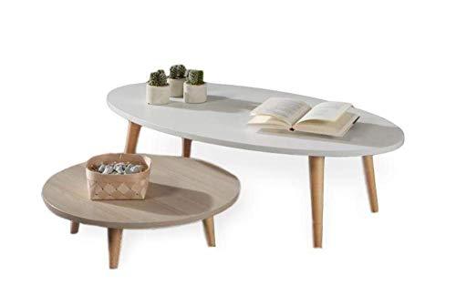 FLENDIT HOME -Nordik Collection Set di tavolini da salotto in stile nordico, composto da un tavolino ovale bianco e un tavolino rotondo in rovere e gambe in legno massello di faggio 100% naturale.