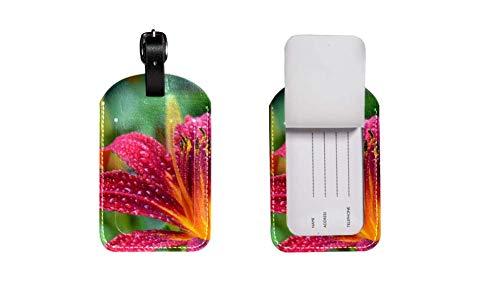 Maleta de Etiqueta de Equipaje de Cuero de PU, Correa de Cuero Ajustable Resistente a los arañazos, diseño Elegante Red Lily Gráficos