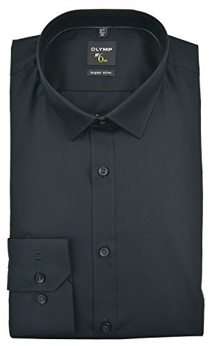 OLYMP  Herren Hemd No. 6 Super Slim Fit Langarm,   Schwarz, 40