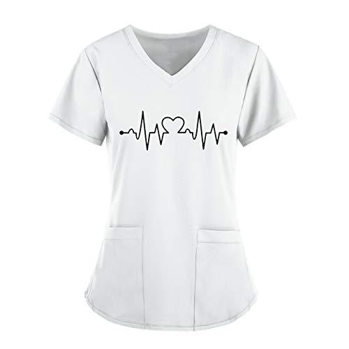 BBYU Schlupfhemd Berufskleidung Krankenpflege Uniform Medizinische Uniformen Arbeitskleidung Liebe Motiv Schlupfkasack Damen Pflege Große Größen Kurzarm V-Ausschnitt T-Shirt