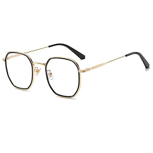 Gafas De Sol Gafas De Sol Cuadradas De Lujo para Mujer Y Hombre, Gafas De Sol con Montura De Metal Vintage para Hombre Y Mujer, Montura De Gafas Transparentes Uv400 C6Goldblack-Clear