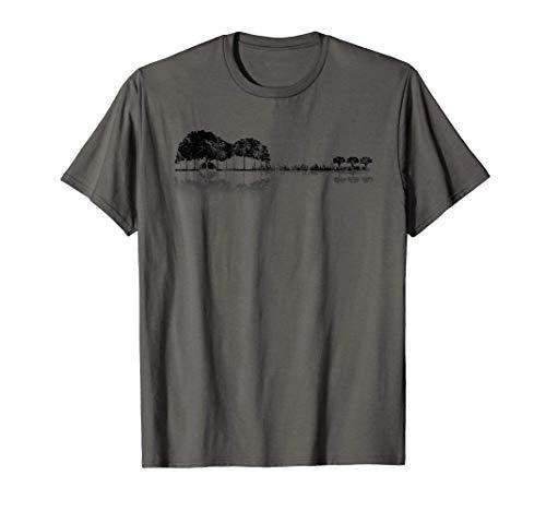 Acoustic Guitar Treeline Sunset Six String Guitar Silhouette T-Shirt