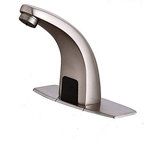 Fyeer Automatic Touchless Sensor Bathroom Faucet, Motion Activated Hands Free Kitchen Sink Tap with Hole Cover Deck Plate, Battery Operated, Brushed Nickel, Hot and Cold Mixer Control, Lead Free