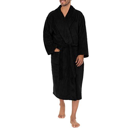Van Heusen Men's Box Windowpane Comfort Soft Robe, Black, One Size