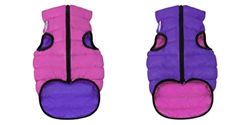 Abrigo Airyvest reversible ultraligero para perro, rosa, morado, talla 10 para perro, talla L