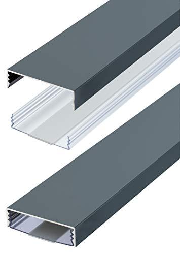 Flacher Design Aluminium Kabelkanal lackiert in Anthrazit RAL7016 Seidenmatt selbstklebend 50 mm x 15 mm Alunovo Kabelschacht Leitungskanal Installationskanal (Länge: 20cm)