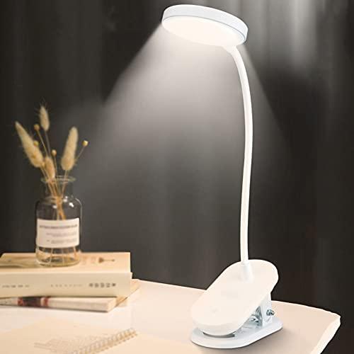 Desk Lamps Lámpara de Escritorio Led Azul con Abrazadera, Luces de Lectura Recargables USB para Niños Eye-Care, Control Táctil Regulable Continuo, Sin Parpadeo Clip para Escritorio, Cama