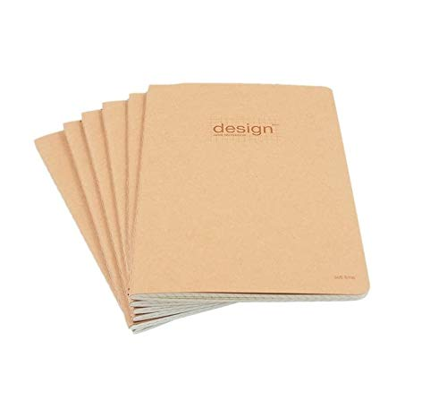 RayLineDo 76 Pages A5 5MM Squared Grid Format Engineering Notebook Project Ring Notebook Thread Binding Soft Cover Science Journal Kraft Brown - 6Pack